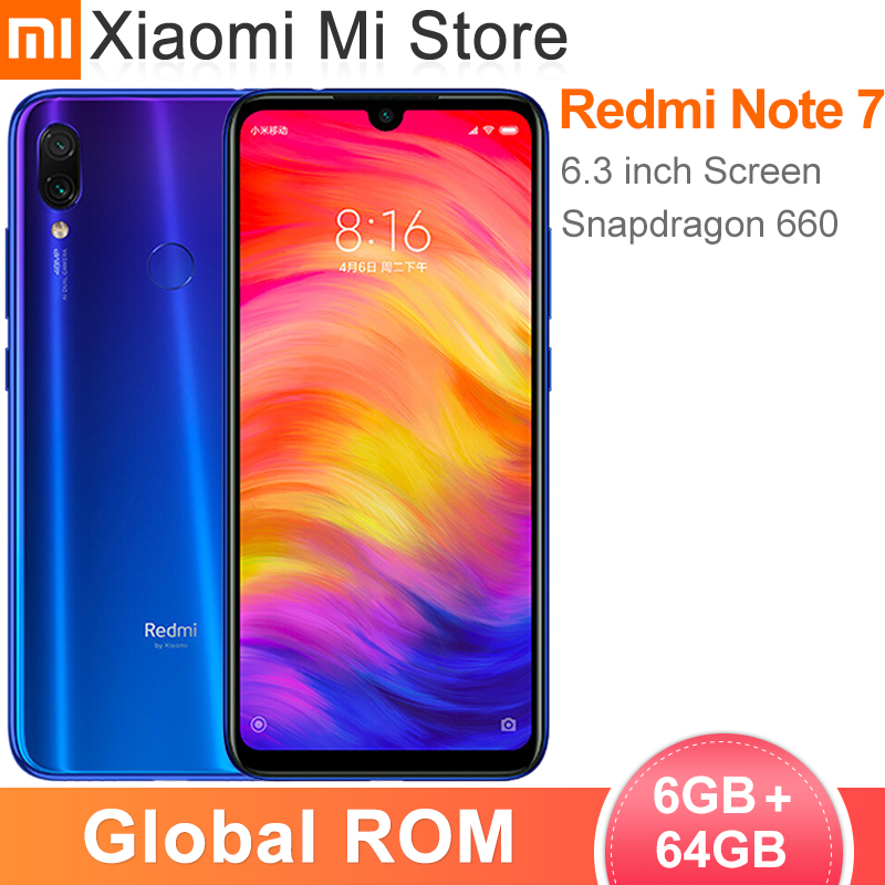 "In Stock Global ROM Xiaomi Redmi Note 7 6GB 64GB Smartphone Snapdragon 660 Octa Core 6.3"" Screen 48MP Rear Camera 4000mAh(China)"