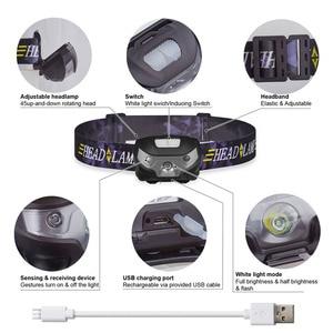 Image 3 - Mini şarj edilebilir LED far vücut hareket sensörlü LED bisiklet başkanı işık lambası açık kamp el feneri USB portu ile