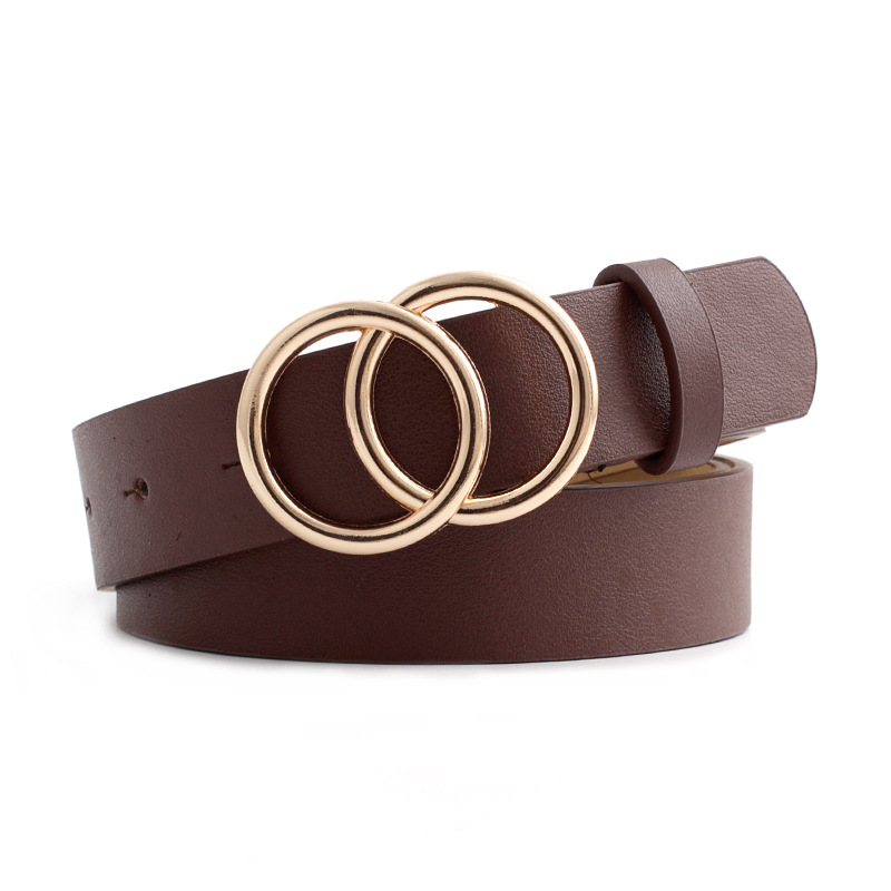 New Wide Black Red White Brown Leather Waist Belt Ceinture Femme Woman Double O Ring Belts For Women Dress Cinturones Para Mujer
