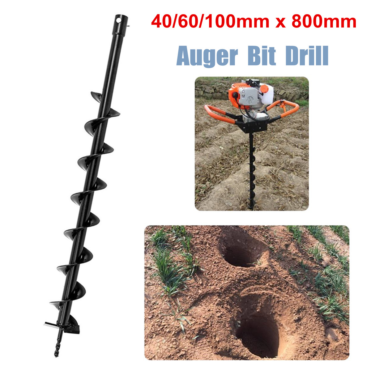 40/60/100mm X 800mm Augers Drill Bit Fence Borer Earth Petrol Post Holes Digger Garden Power Tools Accessories Black