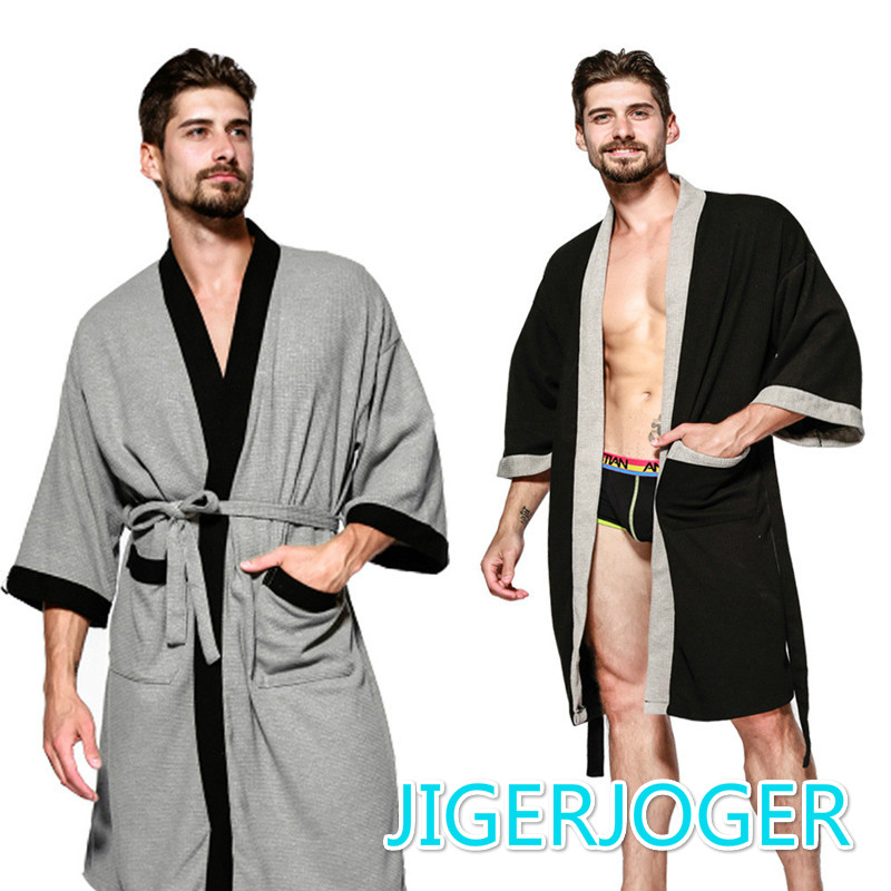 Summer Cotton  Men Robes Nightgowns Bathrobe Suck Sweat Bath Towels Gown Male Lounge Robe Thin Sleepwear Hooded Robe
