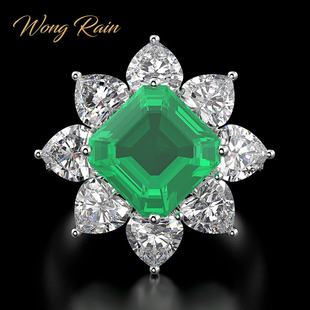Wong Rain Vintage 100% 925 Sterling Silver Emerald Gemstone Wedding Engagement Cocktail Anniversary Ring Fine Jewelry Wholesale