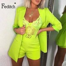 Feditch קיץ עבודת OL שתי חתיכה להגדיר מקטורן ומכנסיים קצרים סקסי 2 חתיכה להגדיר נשים חגורת 3/4 שרוול נשים femal סט תלבושות