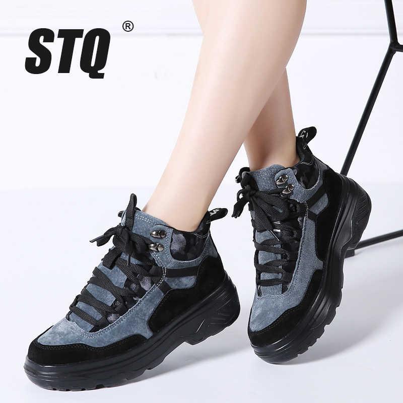 STQ 2020 kış kadın motosiklet botları kadın Platform Sneakers kadınlar yüksek kama Sneakers kauçuk yürüyüş botları ayakkabı 903