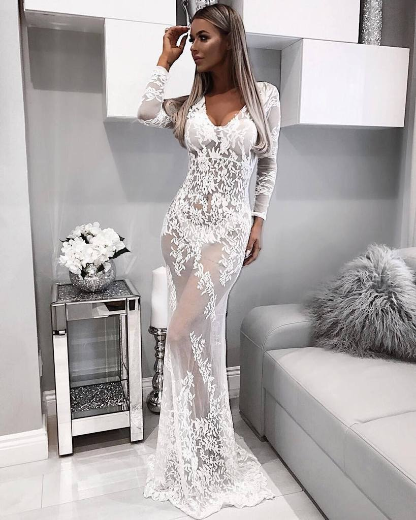 Linglewei New Spring and Summer Women's Dress fashionable sexy V-neck lace perspective dress long dress