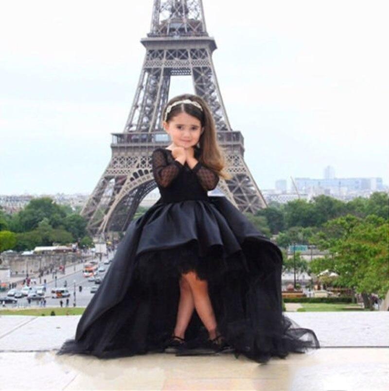 2016 dentelle pleine manches haute basse fleur fille robe Train filles robe noir pour mariage première Communion