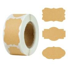300pcs Kraft Paper Stickers Blank Handmade Sticker Adhesive Labels Scrapbooking Gift Package Sealing Envelope Jar Bottle Labels