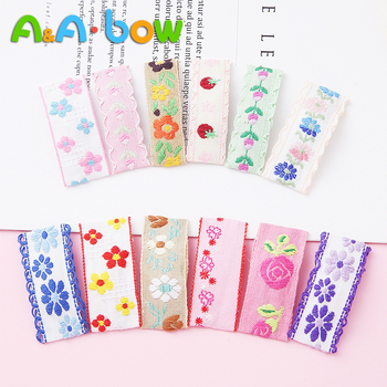 2pcs Cute Candy Color Hairpins For Girls Cotton Floral Embroidery Hair Clip Square Hairgrips Girl Barrette Baby Hair Accessories 1 set 2pcs 4 5 girls 2 color linen plaid hairgrips hairbow hair accessories with alligator clip handmade for children hair bow