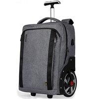 LeTrend Trolley Backpack Waterproof Trolley Bag Computer Layer USB Charging Port Multi function Pocket Boarding Travel Bag