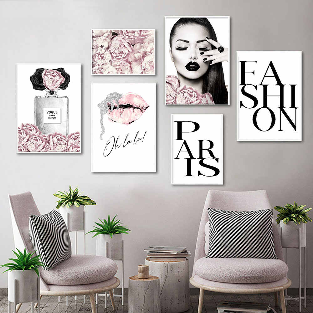 Perfume Lips Poster Fashion Canvas Painting Pink Flowers Wall Art