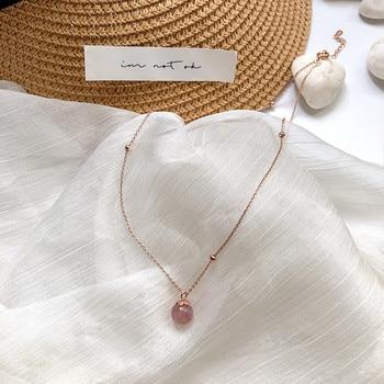 Kpop, collar con colgante de cristal de moda, cadena de color dorado para mujer, collares de moda 2020, joyería Coreana de piedra para chica