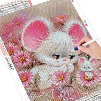 HUACAN Diamond Mosaic Cartoon 5D DIY Embroidery Diamond Painting Animals Mouse Full Square Round Drill