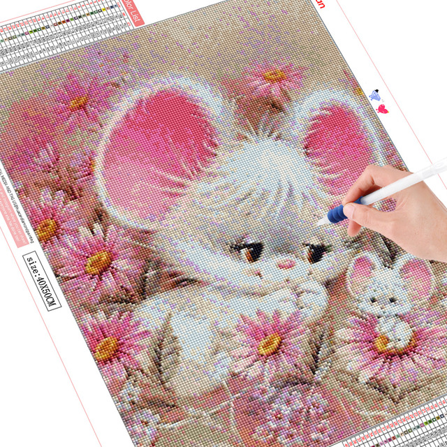 HUACAN Diamond Mosaic Cartoon 5D DIY Embroidery Diamond Painting Animals Mouse Full Square Round Drill Decoration