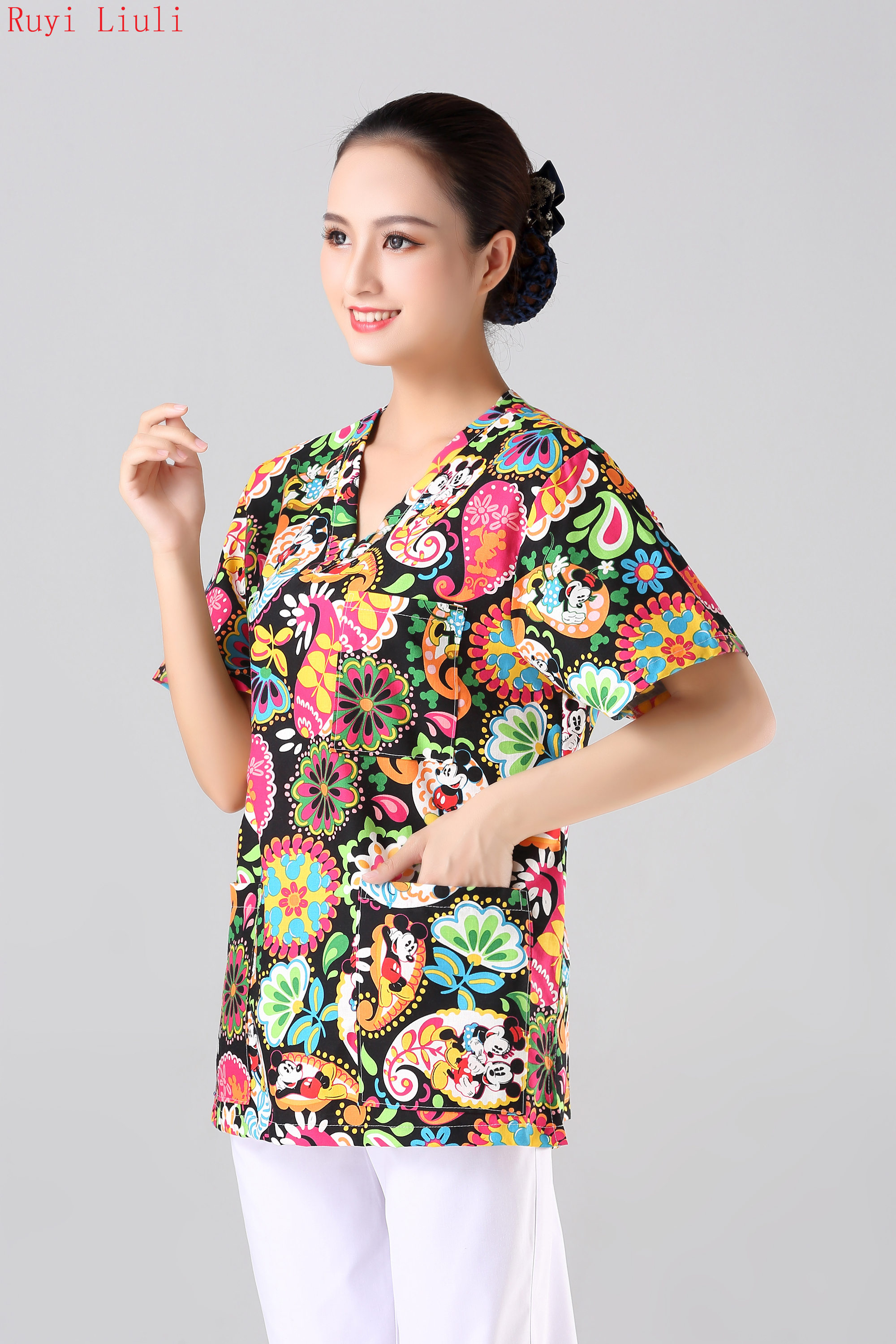 Operating gown surgical hand washing suit nurse doctor dental cosmetology oral pet hospital uniform Cotton printed