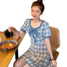 Летние Женские приталенные платья милое женское клетчатое платье