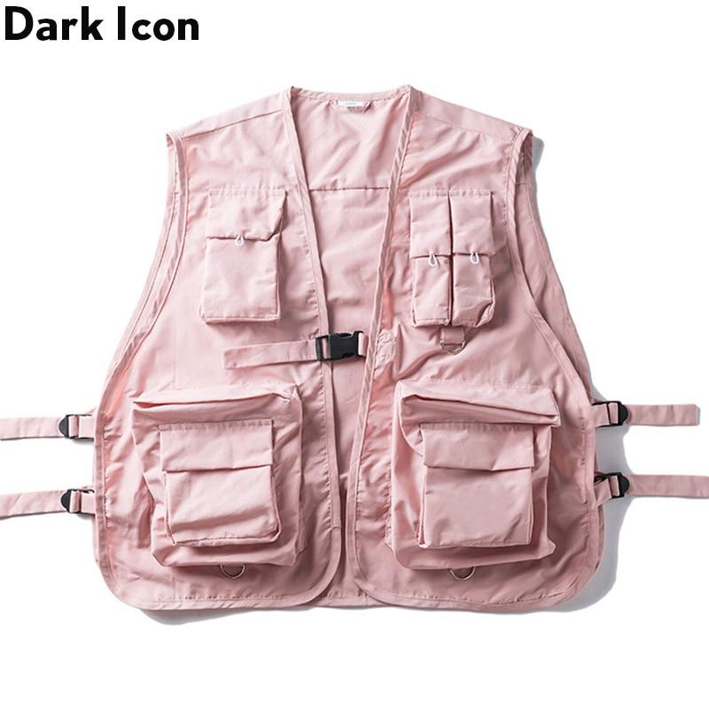 DARK ICON Military Multiple Pockets Cargo Vest Hip Hop Vest Men Dad Core Vest Sleeveless Jacket Gilet Men's Vest Streetwear