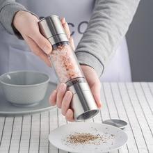 Stainless Steel Salt and Pepper Grinder Set 2 in 1 - Adjustable Ceramic Sea Salt Grinder & Pepper Grinder