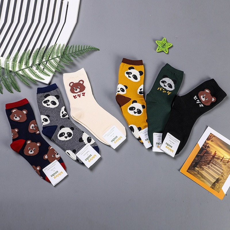 Cartoon Animal Print Socks Panda Bear Autumn Winter Fashion Casual Cute Fun Women Cotton Sock Sporting Korean Breathable Kawaii