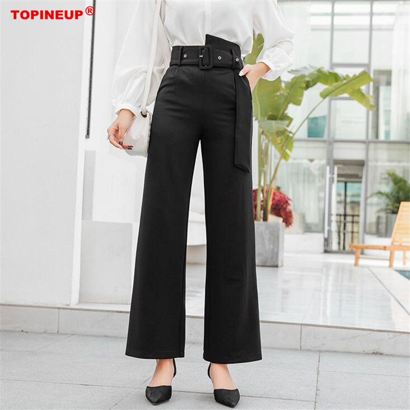 New 2019 Vintage Black Color high waist   wide     leg     pants   stylish spring Summer trousers Women