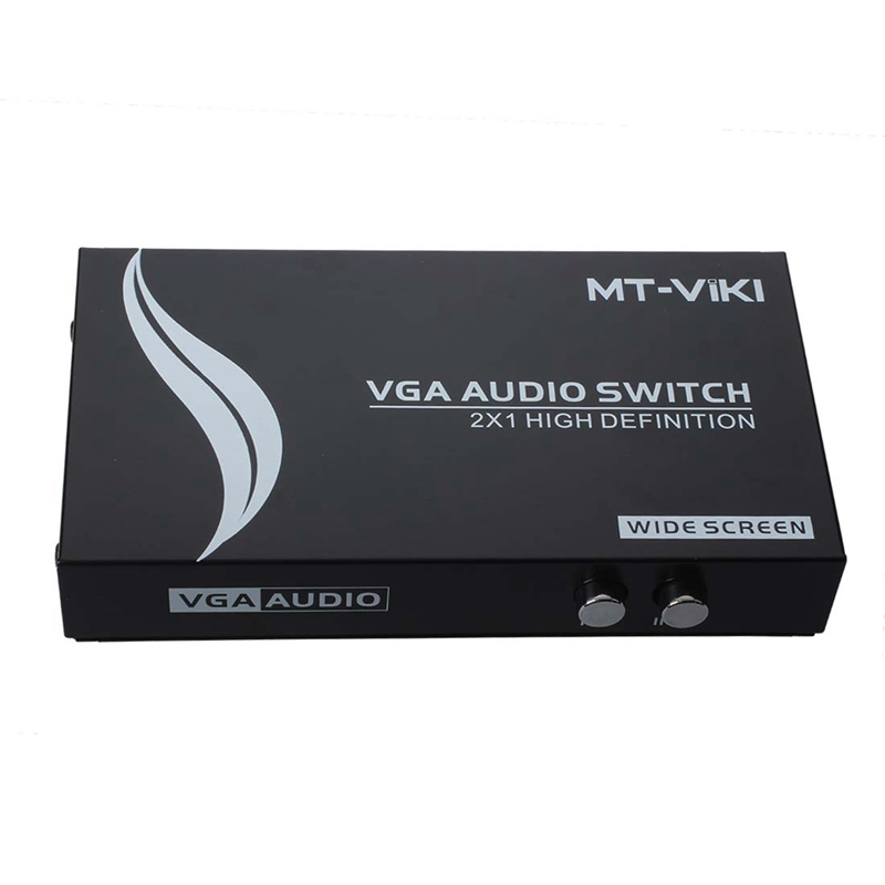 2 Press Button Dual 15Pin VGA Ports In Audio Splitter Switch Box Black