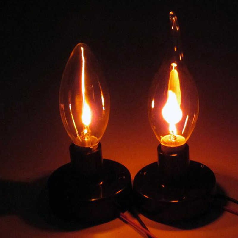 Bombilla LED Edison E14 E27 3W llama, iluminación de incendio, efecto parpadeante Vintage de tungsteno, novedoso, lámpara de punta de vela naranja, rojo