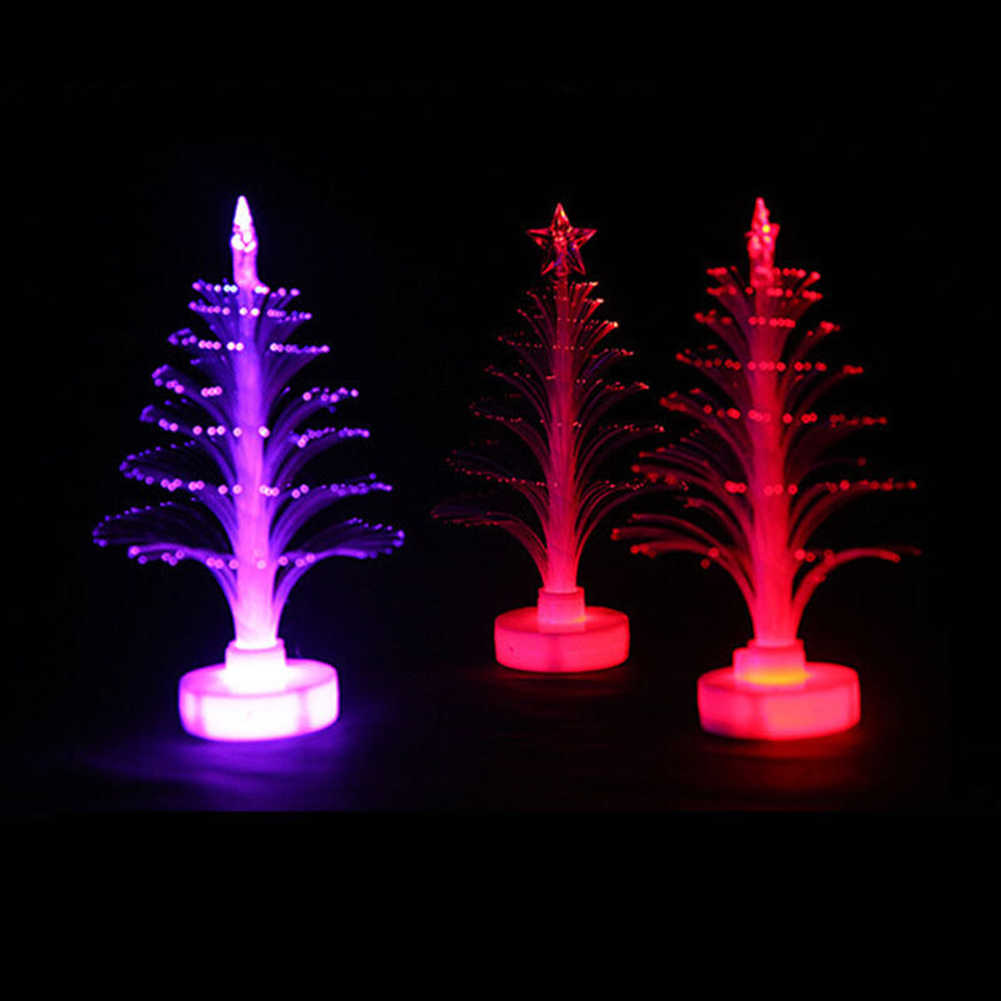 12 cm desktop árvore de natal ornamento colorido fibra óptica natal árvore led night light mini decoração natal para casa nova n13