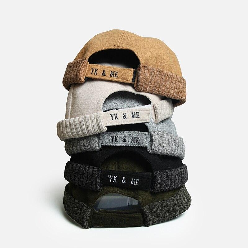 Brand Vintage Beanie Hats Men Women Spring Autumn Landlord Hat Streetwear Hip Hop Brimless Hat Corduroy Docker Cap Wholesale