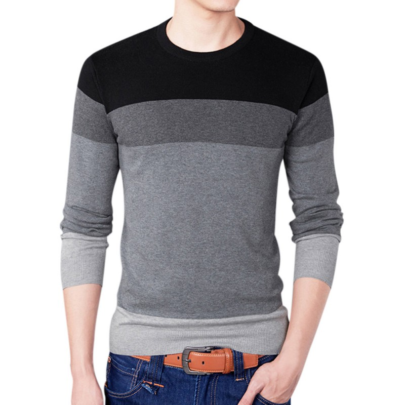 Sweater Mens Pullover--Men Cotton Stripe Contrast Color Round Neck Long Sleeve Knit Regular Fit Sweaters