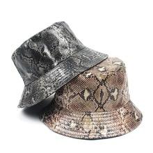 Bob Caps Casquettes Fishing-Hats Flat-Bucket-Hat Panama Pu-Leopard Women Double-Sided-Wear
