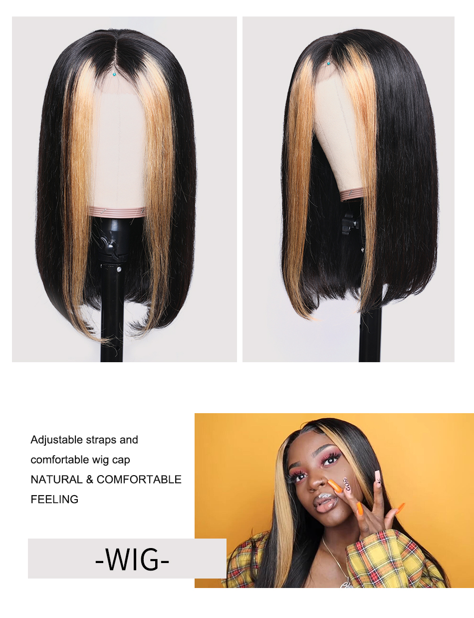 Hfd8a989d043845029f61d5925377c0fci Nadula Wig 13*4 Lace Front Wigs For Women Ombre Color With Highlight Human Hair Wig Brazilian Straight Lace Frontal Wigs