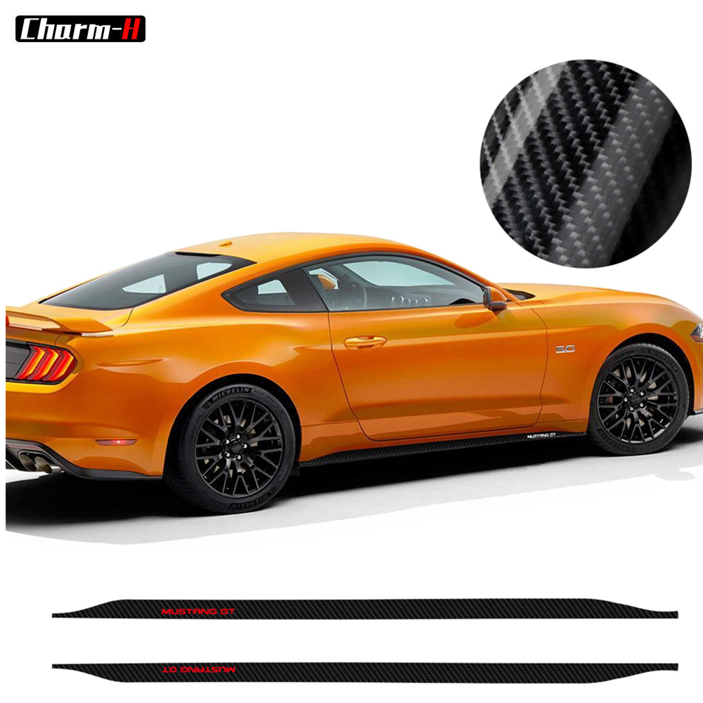 Car Styling 5D Carbon Fibre Stickers for Ford <font><b>Mustang</b></font> GT <font><b>2015</b></font> 2016 2017 2018 <font><b>2019</b></font> Side Skirts Stripe Decal Sticker Accessories image