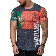 2020 Summer Russian Flag Men's Casual Fashion T-shirt Round Neck Cool and Lightweight Slim Fit Muscle Man's T-shirt Fitness