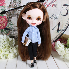 Наряды для куклы Blyth, рубашка в синюю полоску, костюм для 1/6, jerryberry licca icy dbs doll