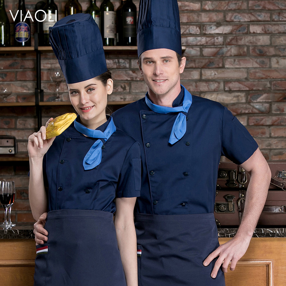 Double Breasted Chef Short Sleeve Work Shirts Restaurant Kitchen Cook Jackets Wholesale Catering Bar Waiter Waitress Uniform New