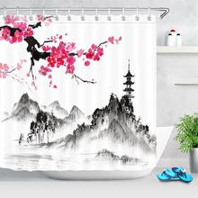 Ink Painting Shower Curtain Bathroom Art Decor Traditional Chinese Landscape Waterproof Shower Curtain Polyester Fabric Japanese portrait shadow waterproof fabric shower curtain