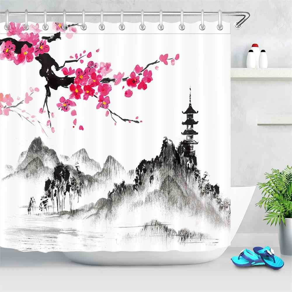 ink painting shower curtain bathroom art decor traditional chinese landscape waterproof shower curtain polyester fabric japanese