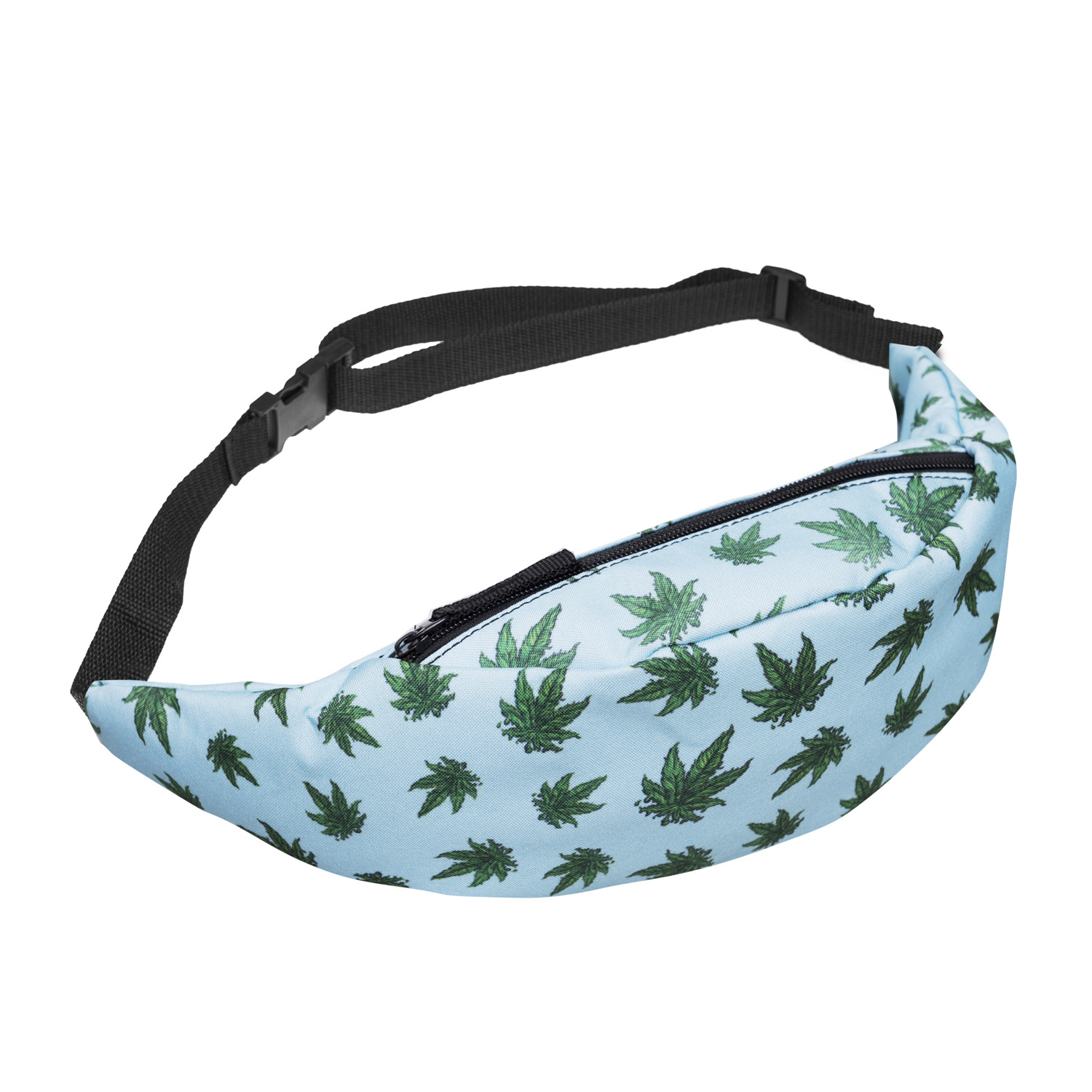 Digital Printing Blue Green Hemp Fimble Leaf Wallet Chest Bag Shoulder Bag Hot Selling
