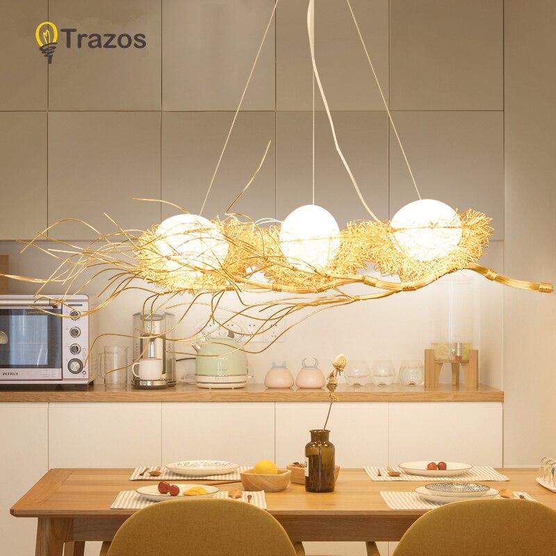 Us 123 39 36 Off Modern Chandelier Lighting For Golden Bird S Nest Dining Room Re De Cristal Chandeliers Pendant Hanging Ceiling Fixtures In