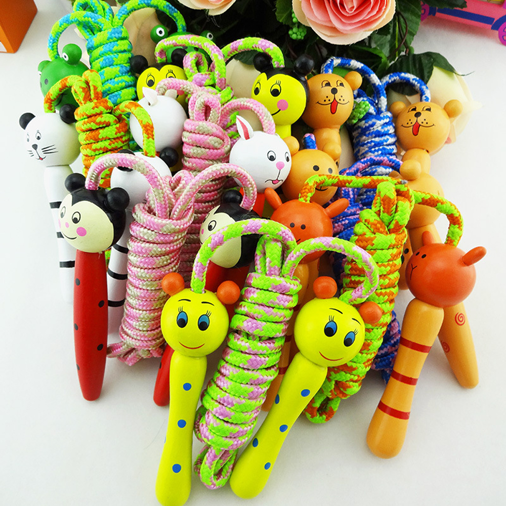 Kids Jump Rope Cartoon Wood Handle Sport Bodybuilding Fitness Skipping Ropes Outdoor Sport Intervaction Toys For Children Gift