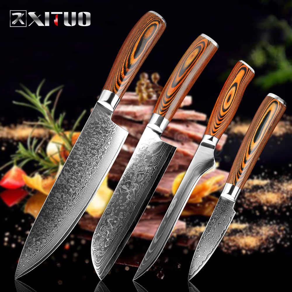 XITUO Chef มีดดามัสกัสมีดกระดูกยูทิลิตี้ญี่ปุ่น vg10 มาเลเซียมีดครัวยูทิลิตี้ Micarta Handle Professional มีดครัว