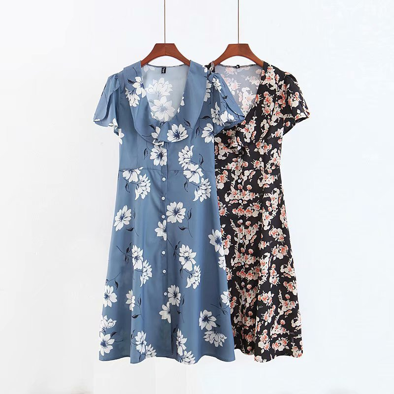 Early Spring New Style WOMEN'S Dress Western Style V-neck Cape Short Sleeve Flower Printed Buckle Holiday High-waisted Dress Wom