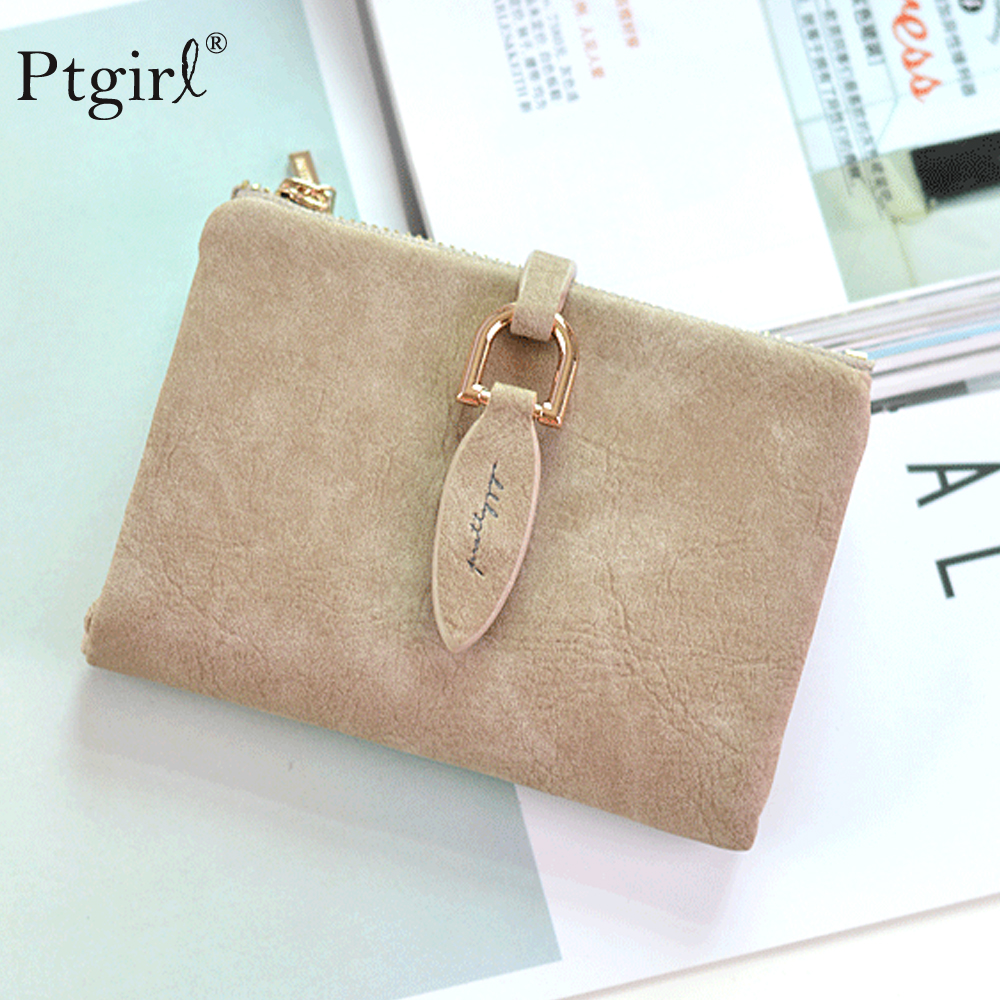 Lady Snap Fastener Short Clutch Wallet Vintage Matte Ptgirl Women Wallet Fashion Small Female Purse Short Coin Card Holder Bags