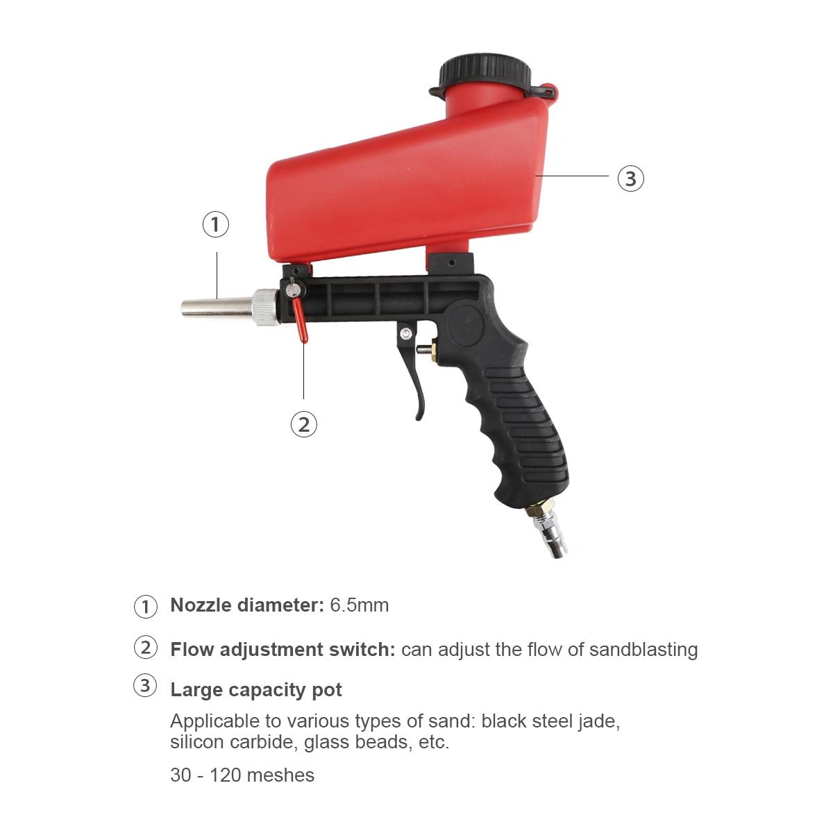 Image 5 - 90psi Portable Gravity Sandblasting Guns Aluminium Pneumatic Sandblaster Spray Guns Sand Removal Blasting Power MachineSpray Guns   -