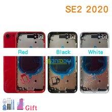 Alta qualidade para o iphone se 2020 se2 habitação capa bateria porta traseira chassis quadro com capa traseira de vidro + ferramenta bateria adesivo