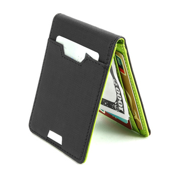 Luxury Slim Money Clip Bifold Wallets for Men 9 Card Cash holder Leather Purse With Zipper Money Bag Coin Pocket Metal Clamp