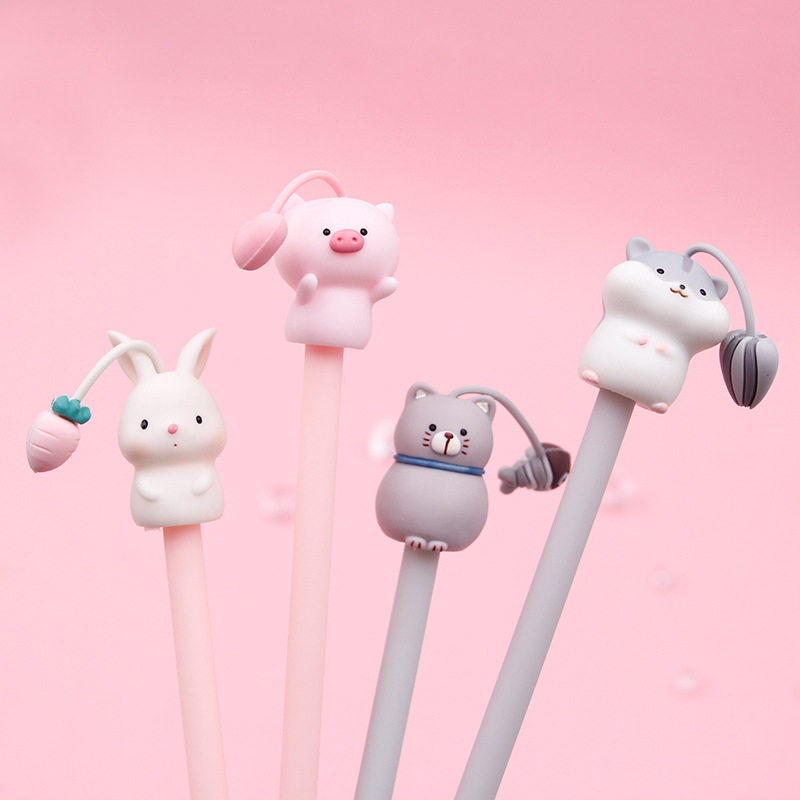Cute Cartoon Pens Kawaii Animals Gel Pen Black Ink Neutral Pens For Writing Kids Girls Gift School Supplies Korean Stationery