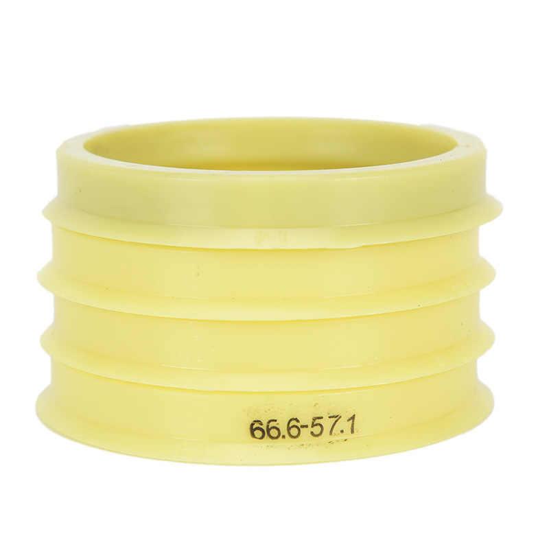 באיכות גבוהה 4pcs צהוב פלסטיק Hub Centric טבעות רכב גלגל נשא מרכז צווארון 66.6-57.1mm עבור מכוניות