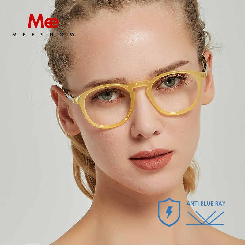 Meeshow Anti Blue Ray Reading Glasses 2020 Acetate Blue Blocking Advanced Eyeglasses Men Women Computer Lens With Diopter 7921BK