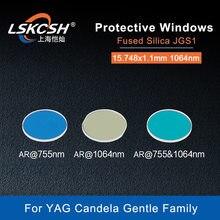 Lskcsh 100 pçs/lote yag laser proteção windows capa slides espelhos 15.748x1.1mm 75/1064nm fundida sílica quartzo candela suave
