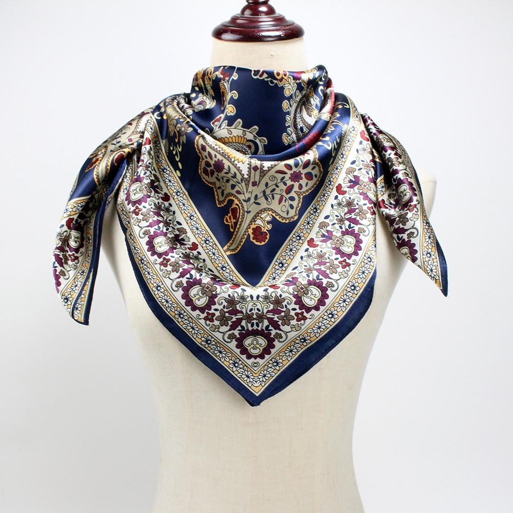 2019 Fashion Silk Satin Hijab Scarf For Women Square Shawl Handkerchief Bag Hair Scarfs Kerchief 90*90cm Neck Scarves And Shawls